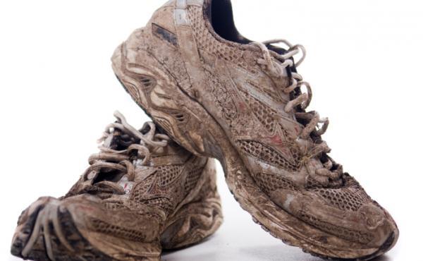 Muddy sneakers.