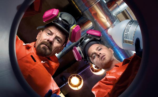 Bryan Cranston (left) stars as chemistry teacher turned meth dealer Walter White, and Aaron Paul plays former student and drug-dealing co-conspirator Jesse Pinkman in AMC's Breaking Bad.