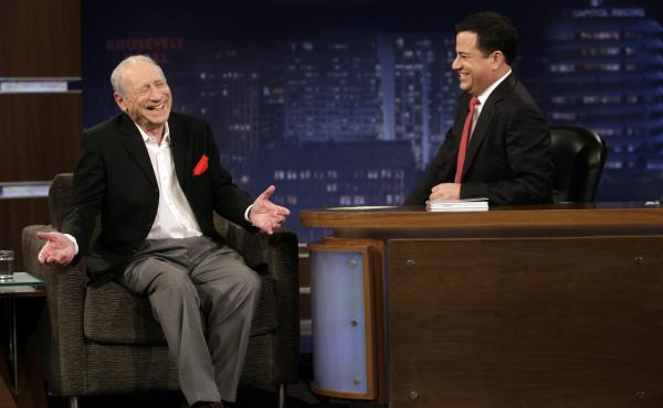 Comedian Jimmy Kimmel interviews Mel Brooks on Jimmy Kimmel Live.