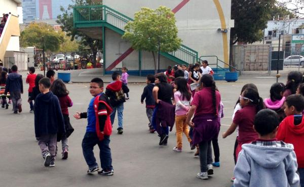 Students at Tenth Street Elementary out on the playground.