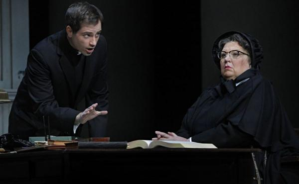 In the operatic version of Doubt, Father Flynn (Matthew Worth) must defend his name after a suspicious Sister Aloysius (Christine Brewer) accuses him of sexually abusing an altar boy.