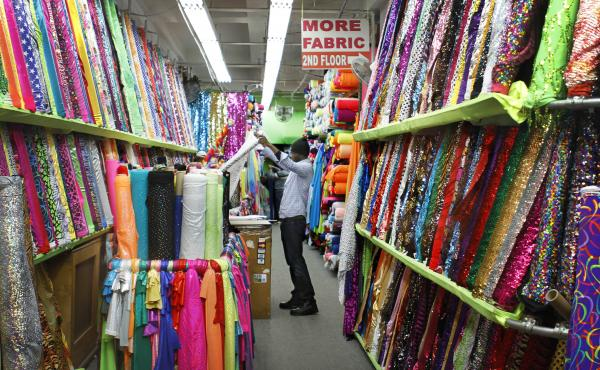 The Garment District's factories and wholesale and retail shops, including Spandex World on West 38th Street, employ about 7,100 people.