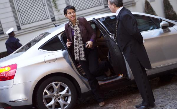 French Minister for Women's Rights and Government Spokesperson Najat Vallaud-Belkacem wearing pants.