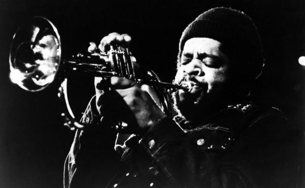 Donald Byrd onstage, in an image circulated by his record label at the time, Blue Note Records.