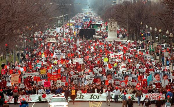 Each January, anti-abortion protesters mark the anniversary of the Roe v. Wade ruling with the March for Life in Washington, D.C. Attendance often reaches into the thousands, such as during the 25th anniversary march pictured here. The 40th March for Life