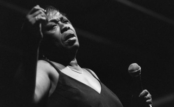 Sarah Vaughan performs during the International Jazz Festival of Nice in southeast France in July 1984.
