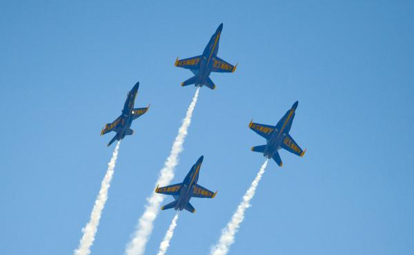 The U.S. Navy's Blue Angels soar over the Florida Keys during a March 23 air show. The group has canceled several air shows in April and May, reportedly owing to budget cuts.
