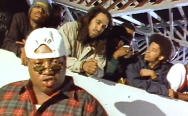 "A still from the video for E-40's 1993 song ""Practice Looking Hard,"" in which rappers like The Coup's Boots Riley (second from right) and Tupac (not pictured) also appeared."