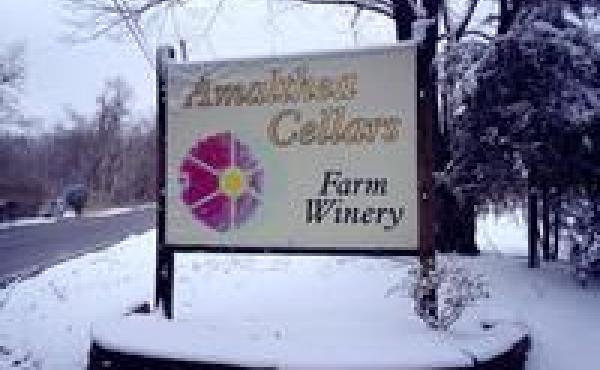 A sign outside Lou Caracciolo's winery, Amalthea Cellars