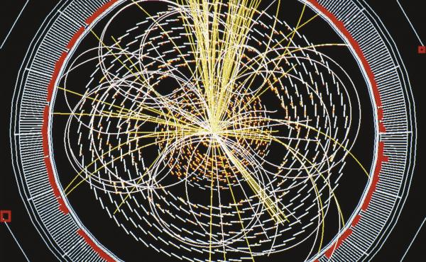 Scientists at the Large Hadron Collider announced the discovery of the Higgs boson on July 4, the long-sought building block of the universe. This image shows a computer-simulation of data from the collider.