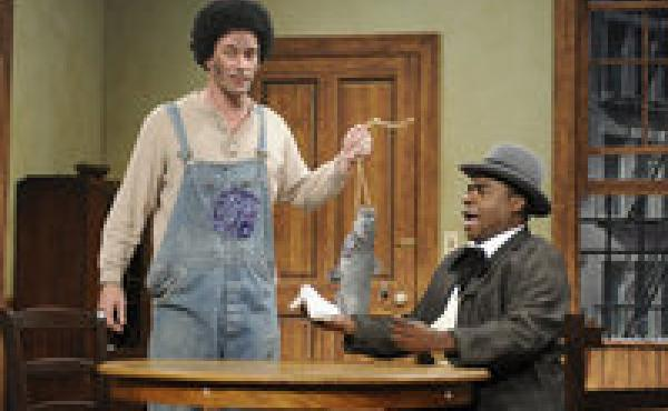 On on 30 Rock episode, Jon Hamm and Tracy Morgan appeared together in a sketch about racial stereotyping.