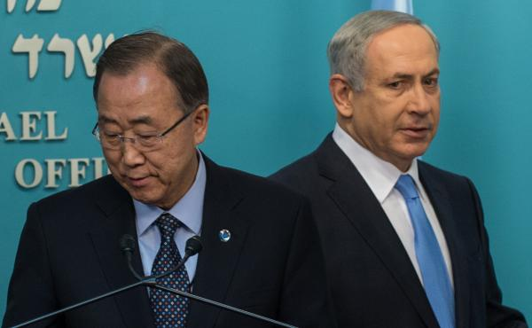 UN Secretary General Ban Ki-Moon (left) and Israeli Prime Minister Benjamin Netanyahu at a news conference at the prime minister's office in Jerusalem on Tuesday.