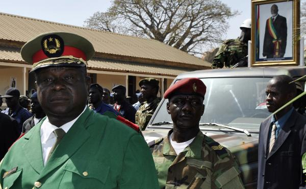 Gen. Antonio Indjai (left), Guinea-Bissau's army chief of staff, at the funeral of the country's late president, Malam Bacai Sanha, on Jan. 15, 2012. The U.S. says Indjai has been involved in drug trafficking, an allegation he denies. He recently eluded a