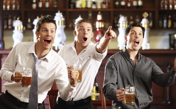 Sports fans at a pub.