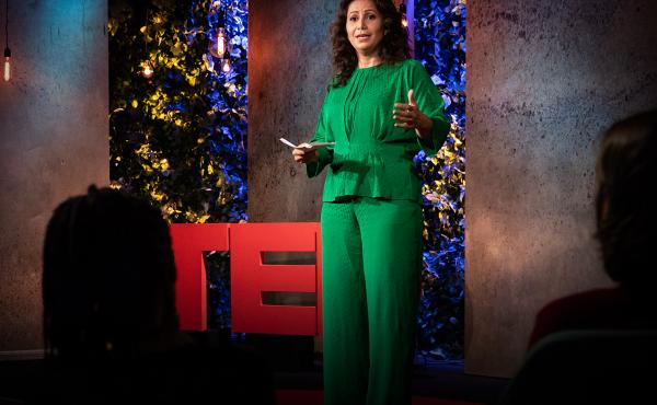 Özlem Cekic from the TED stage.