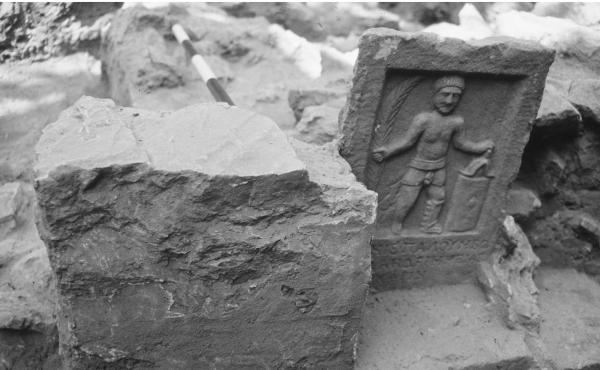 This gladiator tombstone was excavated in a cemetery for these ancient power athletes in what was once Ephesus, in modern-day Turkey.