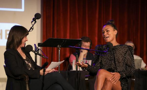 Ophira Eisenberg interviews Ilfenesh Hadera on Ask Me Another at the Bell House in Brooklyn, New York.