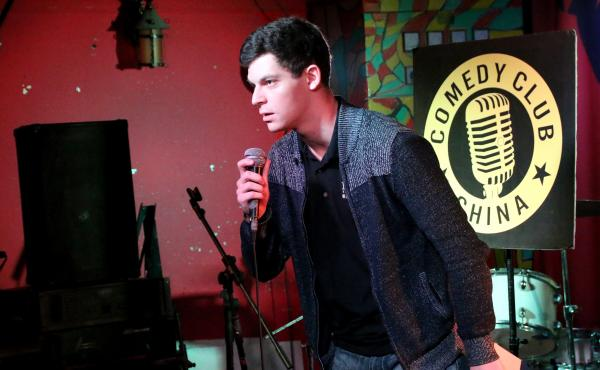Comedian Jesse Appell performs at a club in Beijing. Appell won a scholarship in 2012 to study comedy in China and has been performing on the country's small but growing stand-up comedy circuit.