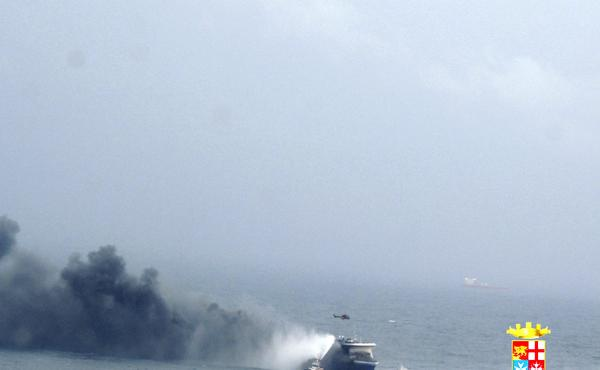The car ferry Norman Atlantic burns in waters off Greece on Sunday.