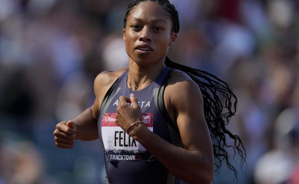 U.S. star sprinter Allyson Felix, shown here in June during U.S. Olympic Track and Field Trials, is competing this week at the Tokyo Olympics.