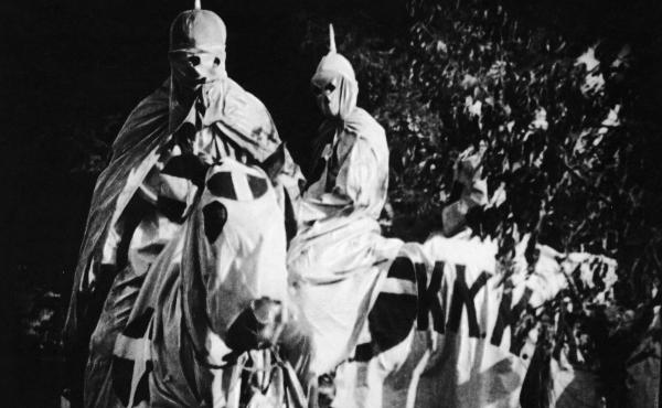 Actors dressed in full Ku Klux Klan regalia for scenes in 1915's The Birth of a Nation.