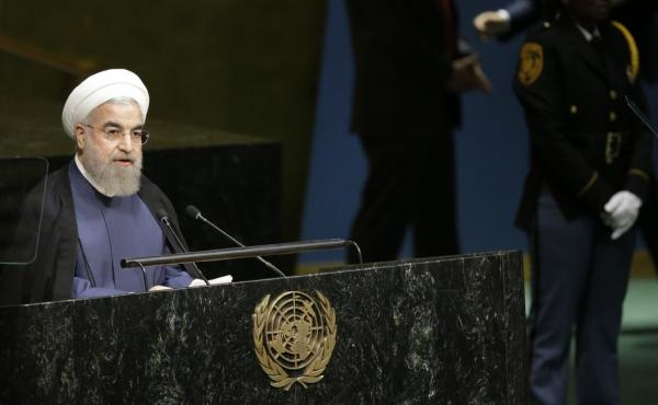 Iranian President Hassan Rouhani addresses the 70th session of the United Nations General Assembly at U.N. headquarters on Sept. 28.
