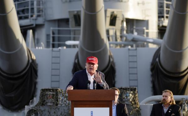 Republican presidential candidate Donald Trump speaks during a campaign event Tuesday aboard the USS Iowa battleship in Los Angeles.