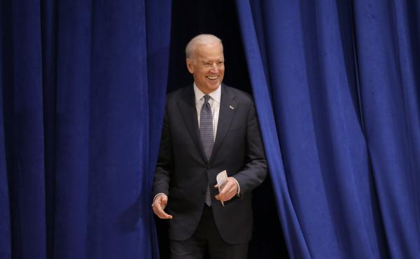 Vice President Biden enters the auditorium before speaking at Drake University in Des Moines, Iowa, in February.