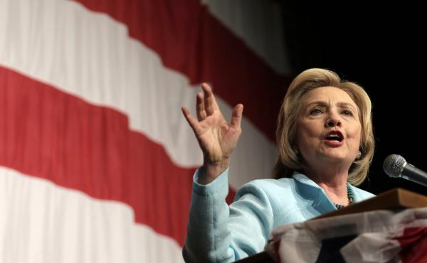 Democratic presidential candidate Hillary Clinton speaks at the Iowa Democratic Wing Ding at the Surf Ballroom on Friday. Appearing at the Iowa State Fair on Saturday, she said the controversy over her emails was the