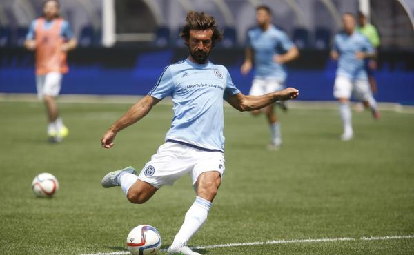 New York City FC's Andrea Pirlo warms up before an MLS soccer match against Orlando City SC on Sunday at Yankee Stadium.