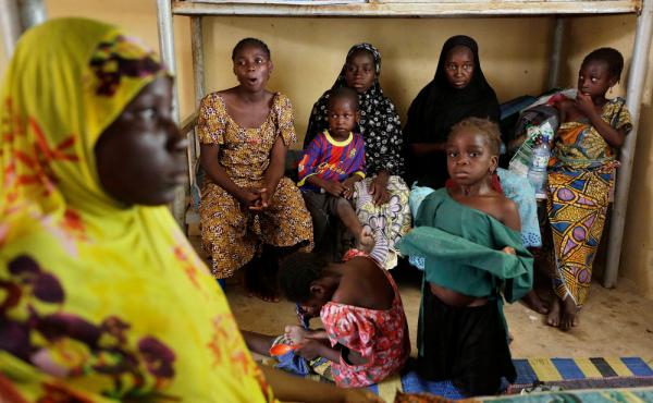 Nigerian soldiers rescued these women and children from Boko Haram extremists.