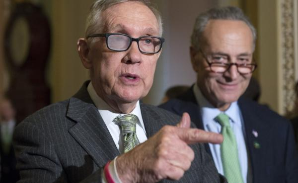 Senate Minority Leader Harry Reid of Nevada and Sen. Charles Schumer, D-N.Y. Reid said today that he won't seek re-election in 2016, adding he wants Schumer to succed him as the Democratic leader in the Senate.