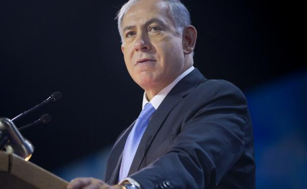 Israeli Prime Minister Benjamin Netanyahu speaks at the American Israel Public Affairs Committee Policy Conference in Washington earlier this month. In an interview with NPR's Morning Edition, Netanyahu said a separate Palestinian state is unachievable