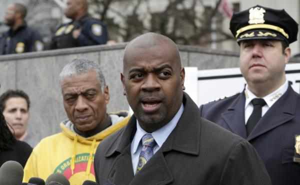 Newark Mayor Ras Baraka, speaks during a news conference in November. He had met with city Police Chief Anthony Campos and protest organizers after a Ferguson, Mo., grand jury chose not to indict police officer Darren Wilson in the death of Michael Brown.