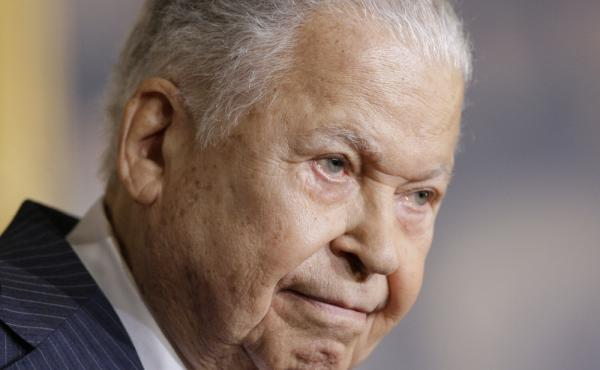 Former Massachusetts Sen. Edward William Brooke speaks in the Rotunda on Capitol Hill in Washington, in 2009 during a ceremony where he received the Congressional Gold Medal. Brooke died on Saturday at age 95.