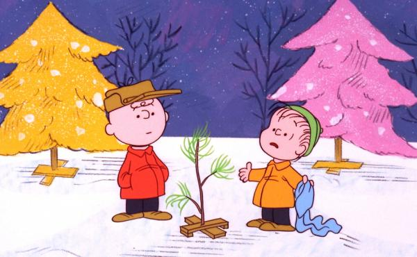Charlie Brown and Linus pick out a scrawny tree in A Charlie Brown Christmas, a TV special based on the