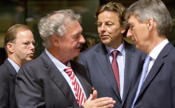 Dutch Foreign Minister Bert Koenders (center) speaks with Luxembourg Foreign Minister Jean Asselborn (second from left) and British Foreign Minister Philip Hammond (right) during a round table meeting of EU foreign ministers in Luxembourg on Monday. The m