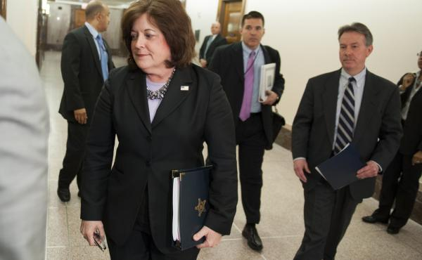 Secret Service director Julia Pierson enters a hearing room in April to answer questions before a closed meeting of the Senate homeland security committee in Washington. Today, Pierson will appear before a House committee to respond to questions about Whi