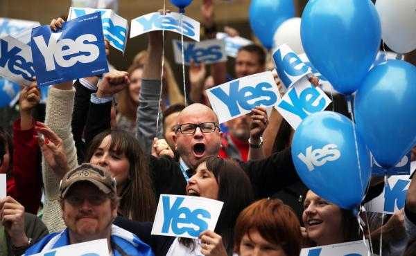 These supporters of Scottish independence are saying yes, and separatist groups in other parts of the world hope it will give them a boost as they seek to break away.