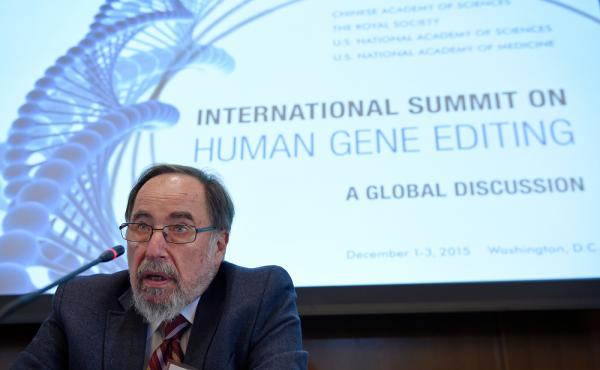 Nobel laureate David Baltimore of Caltech speaks to reporters at the National Academy of Sciences international summit on human gene editing, on Tuesday in Washington, D.C. Hundreds of scientists and ethicists from around the world debating how to deal wi