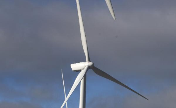 Wind turbines stand in Western Maine along the Kibby Mountain range.