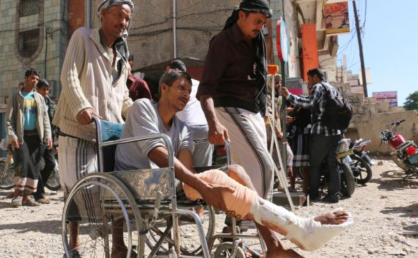 Yemenis wounded in the civil war call for an end to a blockade that's been keeping medical supplies from reaching Taiz.