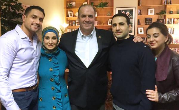 In a photo provided by the Hekmati family, Amir Hekmati (second from right) meets with relatives and U.S. Rep. Dan Kildee at the Landstuhl Regional Medical Center in Landstuhl, Germany, on Monday.