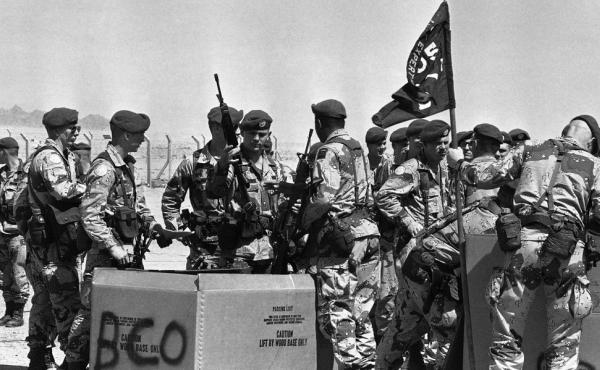 U.S. troops from the 82nd Airborne receive rifles in Sharm el-Sheikh, Egypt, in 1982. For decades, U.S. troops have been part of the multinational peacekeeping force in the Sinai Peninsula designed to ensure the peace treaty between Israel and Egypt. Whil