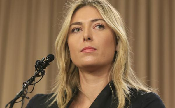 Tennis star Maria Sharapova speaks during a news conference in Los Angeles on Monday.