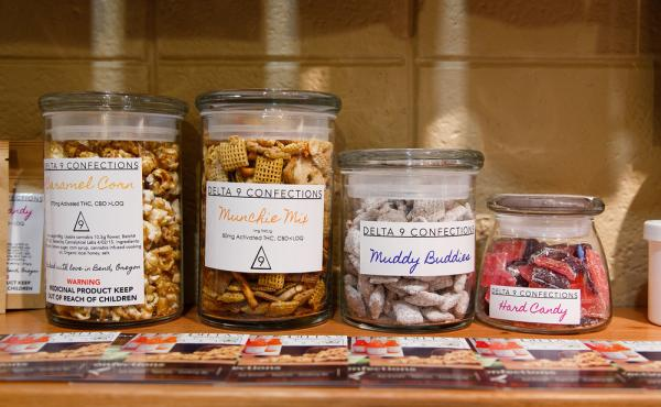 Different types of THC-infused confections are left on display at Amazon Organics, a pot dispensary in Eugene, Ore.