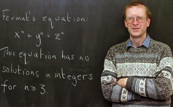 Mathematics professor Andrew Wiles has won a prize for solving Fermat's Last Theorem. He's seen here with the problem written on a chalkboard in his Princeton, N.J., office, back in 1998.