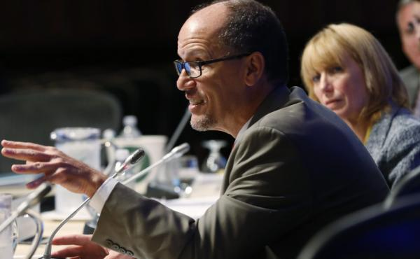 Labor Secretary Tom Perez speaks at a governors meeting in July. Under current rules, advisers