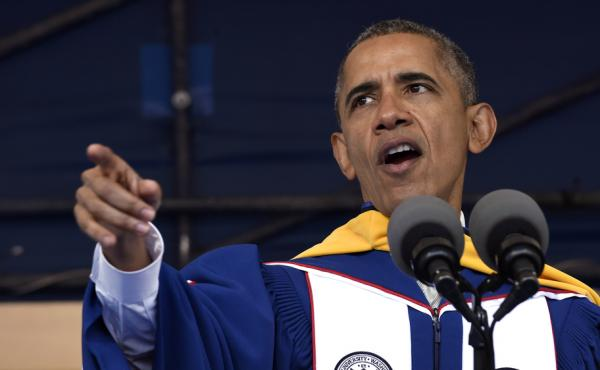 President Barack Obama gives his commencement address to the 2016 graduating class of Howard University in Washington, D.C. on Saturday.