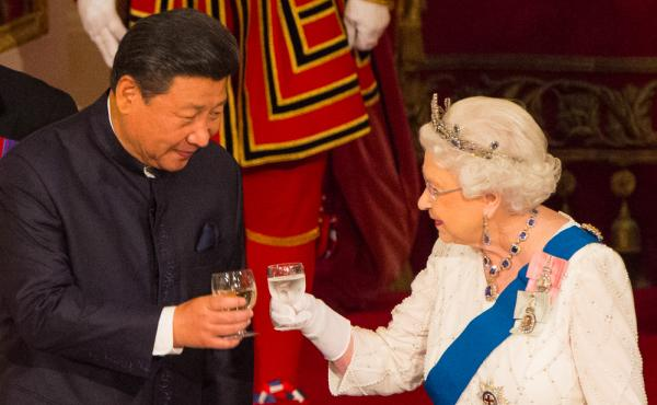 Chinese President Xi Jinping (left) toasts with Britain's Queen Elizabeth II during a state banquet at Buckingham Palace in London on the first day of the state visit in October 2015. Elizabeth said on camera that Chinese officials had been